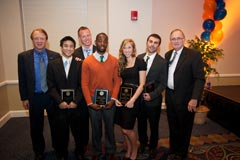 Advertising award winners:  Left to right:  Dean John Wright, Michael Cheng (W. Robert Glafcke Award), Douglas Nelson (Richard W. McGinnis Professional Promise Award), Darrell L. Stevens, Jr., (Richard W. McGinnis Professional Promise Award), Stephanie Repins (Joseph R. Pisani Service Award), Jamie Daigle (Respess Award), and Department Chair John Sutherland.  Absent:  Courtney McCalden (Outstanding Advertising Scholar).