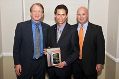 Dean John Wright, Chris Peralta (Director's Award), and Division of Multimedia Properties' Executive Director Randy Wright