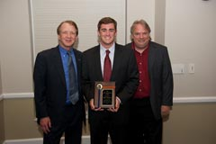 WUFT-TV News:  Dean John Wright, Clark Fouraker (Jon Quattlebaum Award), and Television News Director Mark Leeps.