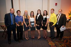 "Journalism award winners: Dean John Wright, Matt Walsh (Elmer Emig Award for Professional Promise), Samantha Rogers (Outstanding Journalism Scholar), Emily Blake (Society of Professional Journalists Award), Kathryn Stolarz (Society of Professional Journalists Award), Victoria Phillips (John Paul Jones Jr Award), Robert Harringer (H.G. ""Buddy"" Davis Award), and Interim Department Chair David Ostroff."