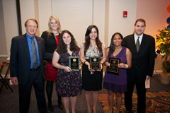 Public Relations award winners (left to right): Dean John Wright, Lauren Gispanski (Outstanding Public Relations Scholar & Florida Public Relations Association Award), Melissa Milchman (Outstanding Public Relations Scholar), Erika Zayas (Frank F. Rathbun PRSSA Award), and Seeta Rebbapragada (Charles Wellborn Service Award), and Department Chair Spiro Kiousis.