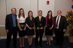 Journalism award winners: Telecommunication (left to right):  Dean John Wright, Lauren McGill (Outstanding Telecommunication Scholar), Sheli Muniz (WJXT Award for Outstanding Student in Television Journalism), Andrew Ruiz (Major Garland Powell Award for Service), Jamie Berkovitz (F. Leslie Smith Management Award), and Department Chair David Ostroff.