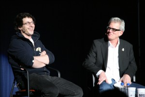 Master Lecturer Mike Foley interviews comedian Andy Samberg at the Stephen C. O'Connell Center.