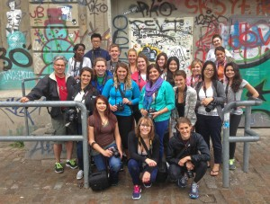John Freeman and his 2013 students pose for a group shot in front of Berghain, a world-famous techno club.