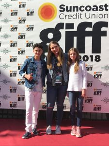 """Emily Miller with actors from her film """"The Estates."""""""