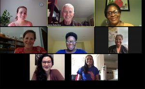 Nicki Dankers, James Babanikos, Meisha Wade, Judy Hunter, Bridget Dunbar, Allicia Bolen, Carla Fragomeni and Alejandra Delgado on Zoom.