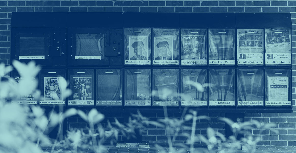 News stand outside of Weimer Hall