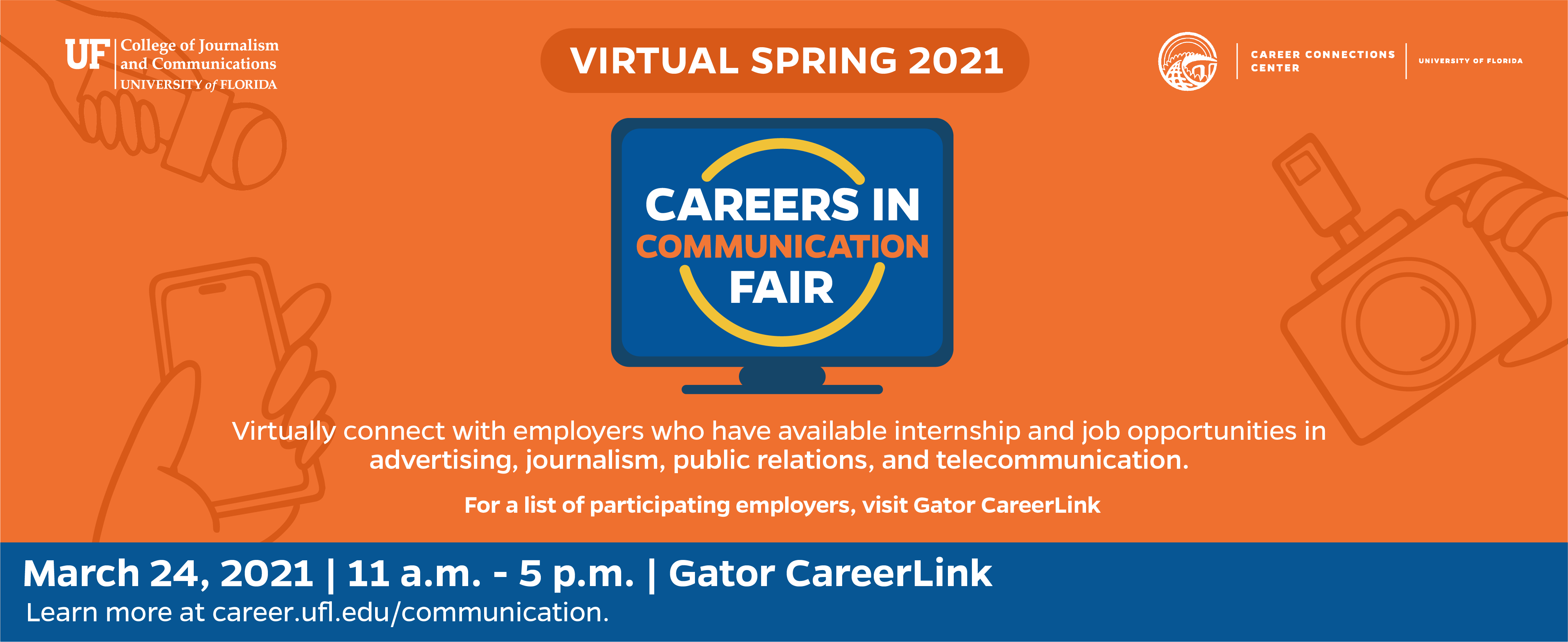 Careers in Communication Fair header image with computer graphic