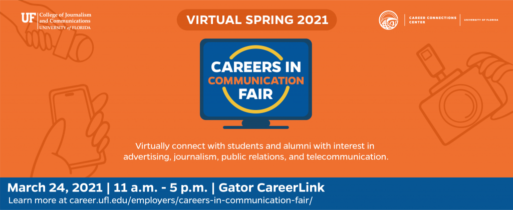 Careers in Communication Fair - March 24, 2021 - meet with students interested in media and communications industry roles