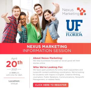 Nexus Marketing Information Session on April 20 at 3 p.m.