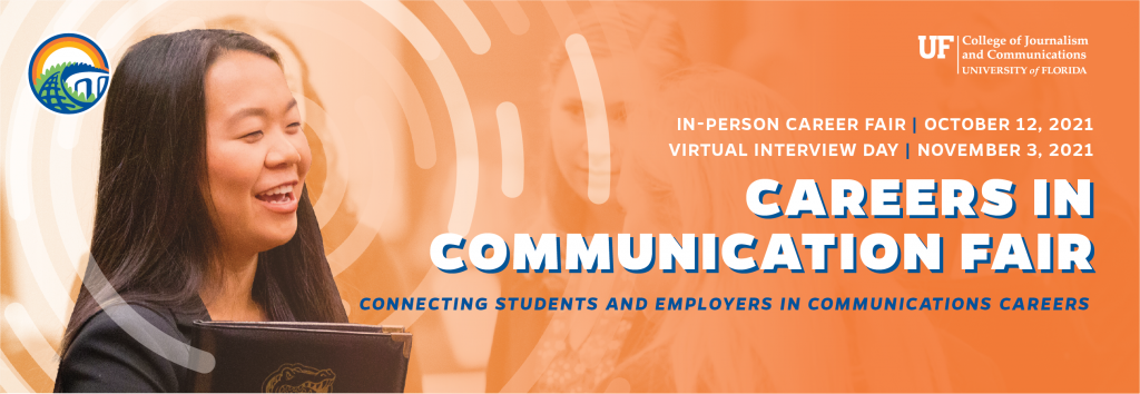 Careers in Communication Fair banner, with an image of a student holding a portfolio and smiling | In-Person Career Fair: October 12 | Virtual Interview Day: November 3
